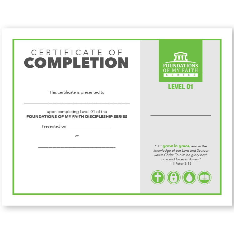 Foundations of My Faith Discipleship Level 1 - Certificate of Completion