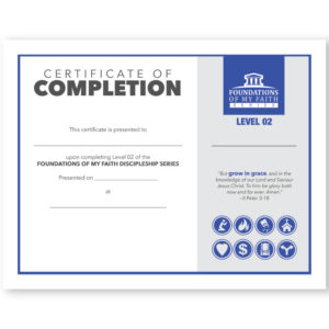 Foundations of My Faith Discipleship Level 2 - Certificate of Completion